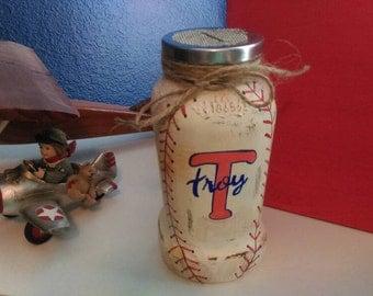 Mason jar piggy bank, baseball, personalized, major league, name, rustic, sports, baby shower gift, football, boys room, saving, change