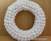 Felt White ball wreath, Christmas wreath, Free delivery, Felt wreath, Holiday wreath, Handmade in Nepal