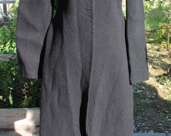 Vintage 1980's Black Wool and Cashmere Long Coat by Tocca Small Medium