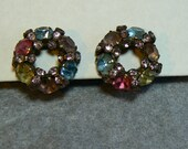 Vintage Signed Warner Multicolored Rhinestone Wreath Clip Earrings with Pastel Colors (J-16-505)