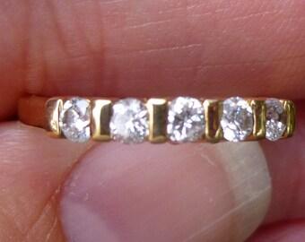Yellow gold 14KT   Band  Stacker diamonds 5 diamonds total anniversay band engagment ring