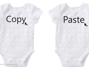 Geek Copy & Paste Identical Twins Cute Baby Funny Humor Onesie/Creeper/Bodysuit Size 3, 6, 12, 18, 24 Months Color White