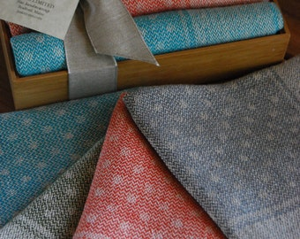 Handwoven Linen Napkins Polka Dots- Set of Four