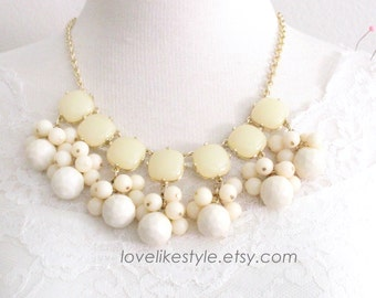 Ivory Stone and Beads Gold Chain Statement Necklace , Bib Necklace, Bridesmaid Necklace, Ivory Necklace