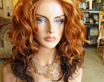 "SPRING SALE - Lace Front Natural Wavy Wig - Ombre Orange Spice with Dark Ends - Lace Front & Capless Wig - ""Ginger"" - Natural Beauty"