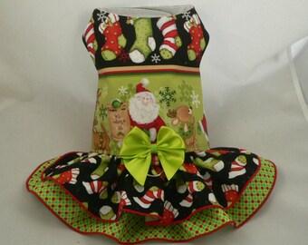 "Girth size 15"". Small dog harness dress. Playtime.Christmas Santa by Poshdog."