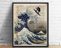Japanese Wave SURFER Print, Great Wave Kanagawa Art, Girl or Boy Surfer Options, Poster Illustration, Beach Decor, Dictionary Page Giclee