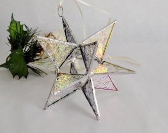 "12 Point Moravian Star. Iridescent Star. 4,5"""