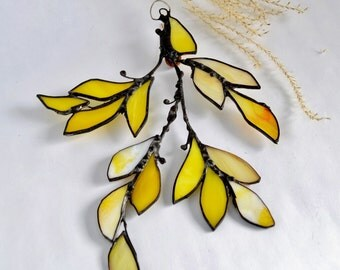Yellow Glass Autumn Leaf Branch. Stained Glass Suncatcher. Yellow Leaf.