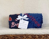 Atlanta Braves Baby Blanket Toddler Minky NAME Embroidered Gift Set Large Minky PERSONALIZED Baby Boy Cleveland Marlins Nationals Pirates