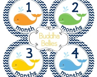Baby Boy Monthly Stickers for Baby Boy Navy Blue Chevron and Whales Nautical Baby Shower Gift Baby Month Bodysuit Stickers B127