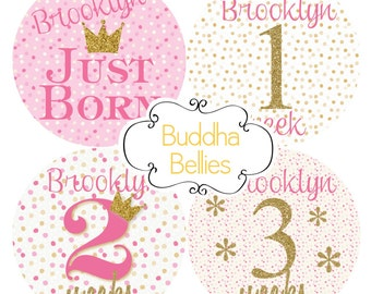 BUNDLE PACK Personalized Pink and Gold Glitter Confetti Milestone Stickers for Baby Girl Milestones Monthly Baby Stickers Custom Baby Decals
