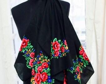 CLEARANCE Black Flower Shawl , Folk shawl , Floral scarf , Urban Flower shawl , Bohemian Shawl , Boho Gipsy scarf
