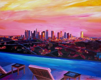 Los Angeles Infinity Skyline with Infinite View Pool - Limited Edition Fine Art Print Giclee - Original available