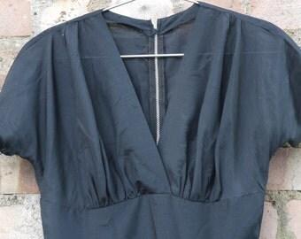 1950s black lawn cotton full skirt dress