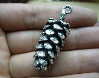 3pcs 15*41mm antique silver pinecone fruit charms pendant C7660