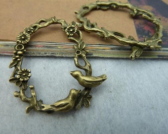 10pcs 35*43mm antique bronze bird tree charms pendant C2449