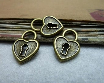 50pcs 14*20mm antique bronze key heart lock charms pendant C7928