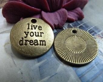 20pcs 19mm antique bronze live your dream letter charms pendant C1883