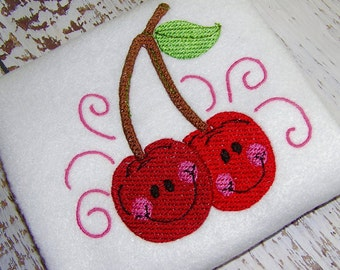fruit Cherry machine embroidery design instant download, embroidery cherries, fruit cherries embroidery design, machine embroidery design