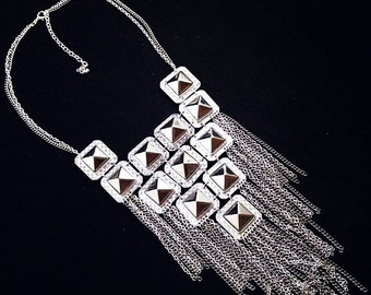 "Silver Statement Necklace Dangling Chains Square Domed Panels or Plaques Massive 30"" Vintage 1990s"