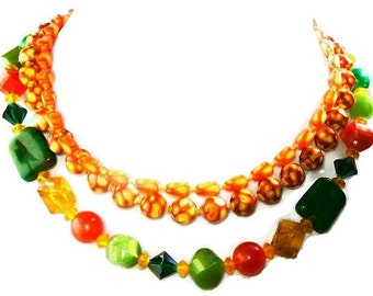 "Kramer Bead Necklace 3 Strands Orange Green Indian Corn Beads & Rhinestones Gold Metal 17.5"" Tribal, Boho Chic, Vintage"