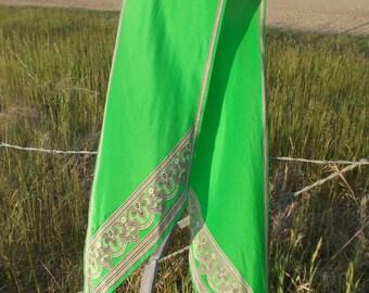 vintage apple green Anne Klein silk scarf -80s