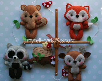 Woodland Mobile, Forest Mobile, Eco Mobile, Nursery Mobile Little Wood Creatures Nature Mobile BB Baby Crib Furniture, Baby Boy Bedding 3