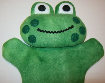 "11"" Fleece Frog Hand Puppet - Ready to Ship!"