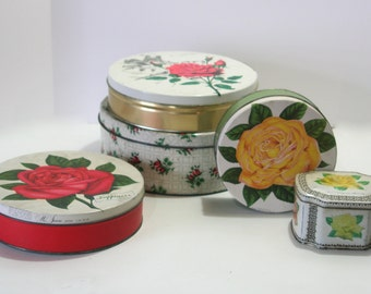 Vintage Collection of 5 Stacking Nesting Tower Chippy Shabby Red Pink Yellow Rose Bud PARIS Primitive Cookie Tin Canister for Cottage Decor