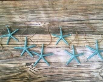 Blue Starfish Beach Wedding Garland, Starfish Garland, 5 foot Garland, Christmas Garland, Beach Garland, Beach Wedding Garland, mermaid