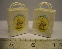 1:12th 2 x Rabbit Print Shopping/Carrier Bags Dolls House Miniature Accessories