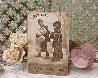 Sweet Edwardian Era Postcard-Couple Carrying Christmas Gifts-The Real Santa