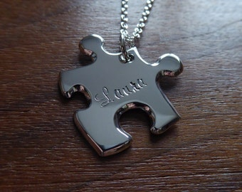 Personalised Silver Puzzle Pendant Necklace 1