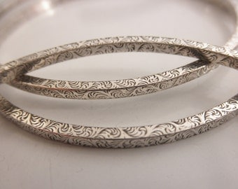 Stacking bangle bracelets - set of three bangles - 925 solid sterling silver - handmade sterling silver bangles - BB 16001