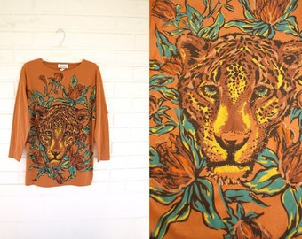 Vintage 80s tiger face glitter tunic top womens size S