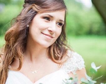 Personalized Gift/ Bird Initials Necklace/ Sterling Silver Swallow Bird Initials Necklace - Everyday Jewelry/ Wedding Jewelry/ Bridal Shower