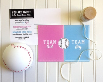 Softball Gender Reveal Invitation Postcard / Baseball Gender Reveal / Printable / Gender Reveal Party