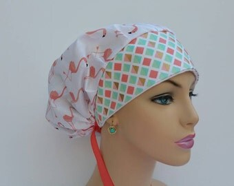 Bouffant Cap/Medical Scrub Cap - Soft Pink Flamingos - Gold  Diamonds  Combined - 100 % cotton