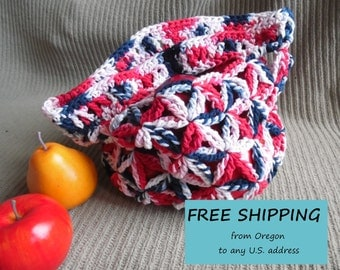 Patriot Small or Large Market Bag, Star Pattern - USA Grown US Shipping Included