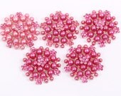 Metal Rhinestone Buttons - Pearl Cluster Button - 26mm SET OF FIVE - Pink