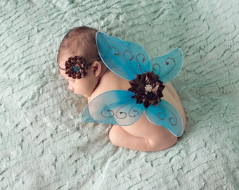 Newborn Butterfly Wing & Headband Set, Infant Photo Prop, Luxe Baby Wings, Flower Wings, Baby Headband Set, Baby Shower Gift Set -Blue/Brown