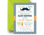 Aristocratic Mustache Baby Shower Invitation Boys Navy Chevron & Orange Little Man Party Printable or Printed, Original Customized (NOMB)