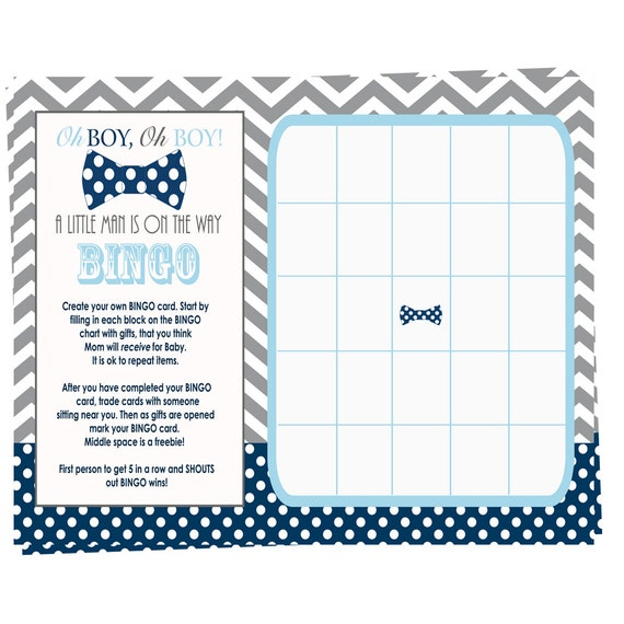 Make Your Own Bingo Card: Bow Tie Baby Shower Bingo Game Cards Fill In By