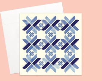 Nordic Blue blank Greeting card or greeting card set