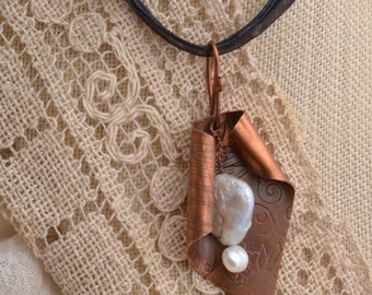 Pearl & Textured Copper Pendant.  FREE SHIPPING