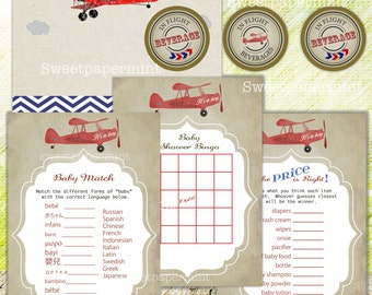 Airplane Baby Shower Party games   circles   blank card