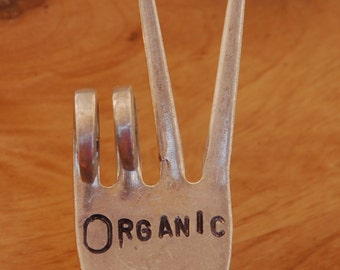 ORGANIC hand stamped PEACE Sign Garden Marker Art Fork HERB Potted Plants