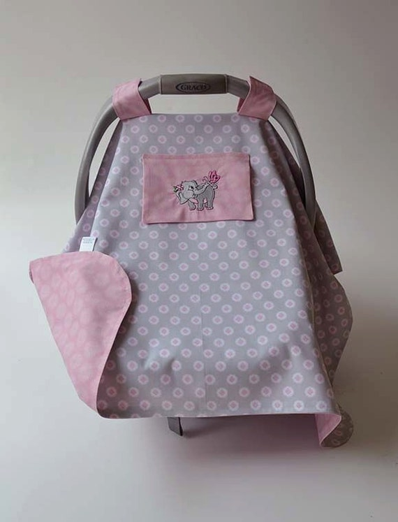 Car Seat Cover For Baby Pink Gray Elephant Butterfly Gift
