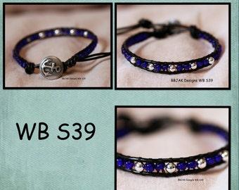 WB-S39 single beaded wrap bracelet - black leather and cobalt beads